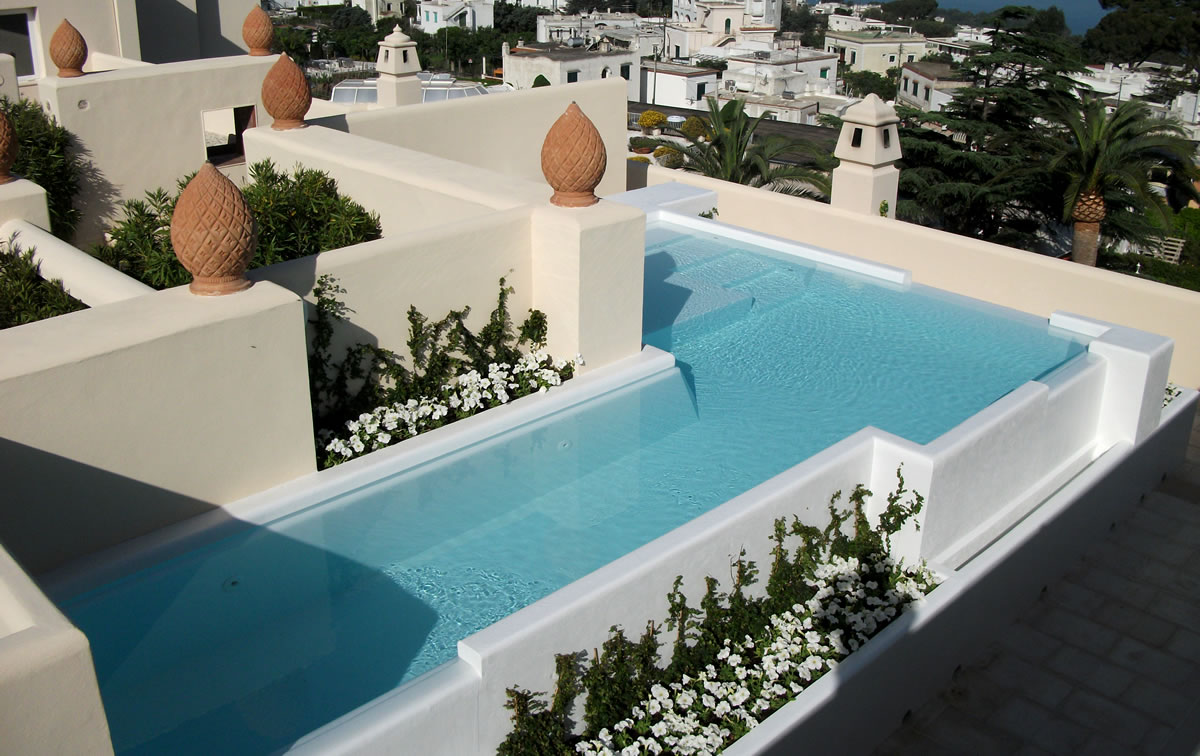 Terrace Pools pool on the terrace in capri – tecnoambiente luxury pools